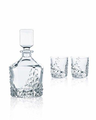 SCULPTURE - Набор 3 предмета декантер 750 мл + 2 стакана 365 мл хрусталь