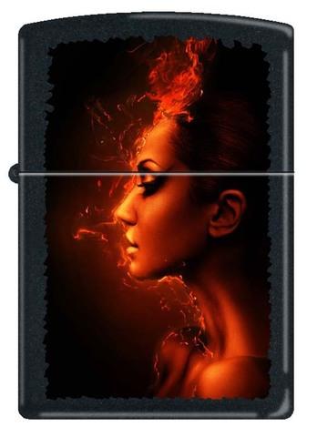 Зажигалка Zippo Burning woman, латунь с покрытием Black Matte, чёрная, матовая, 36x12x56 мм123