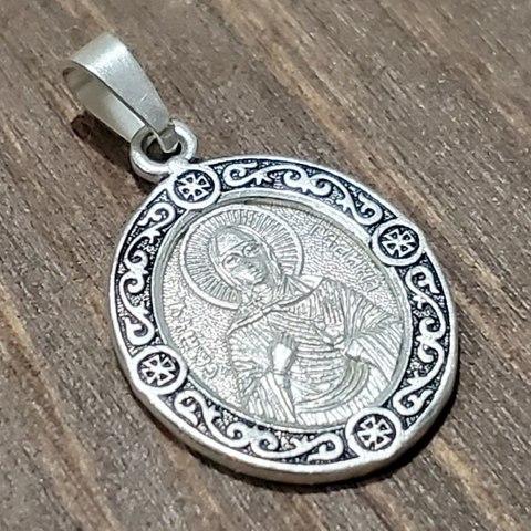Нательная именная икона святая Галина с серебрением Вариант 3