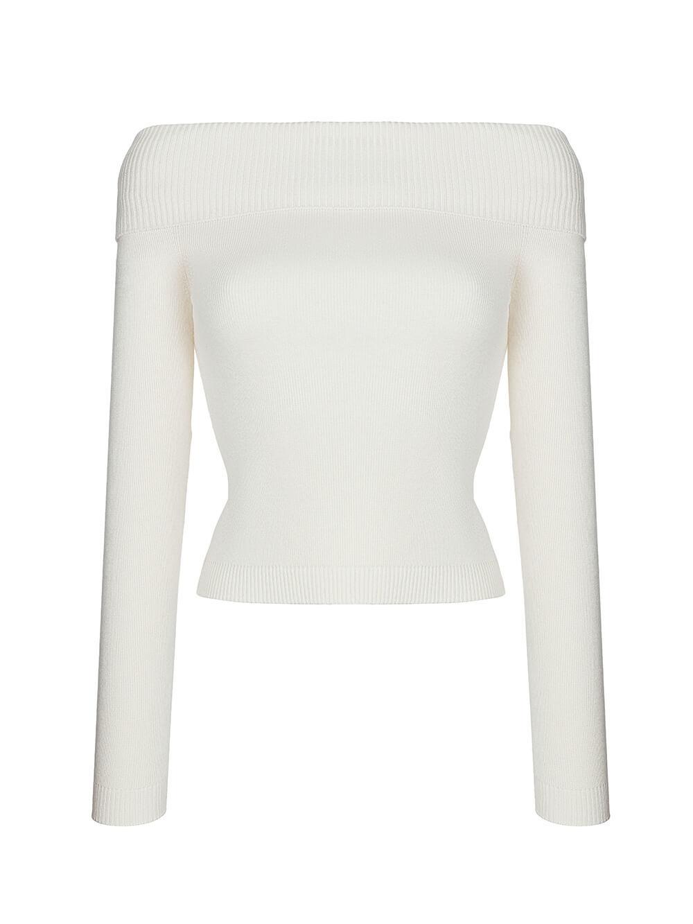 Женский джемпер молочного цвета из шелка и кашемира - фото 1