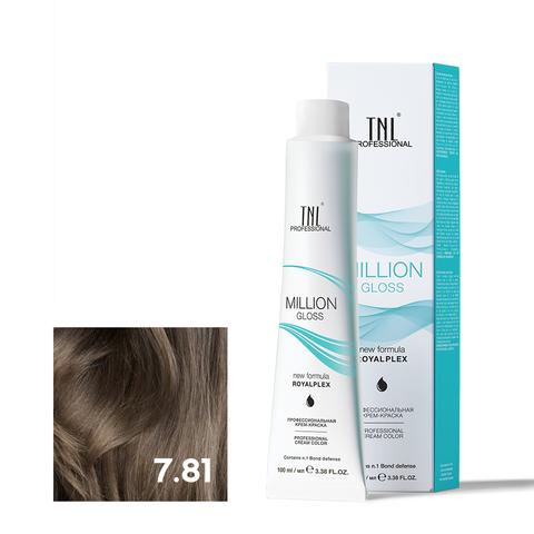 Крем-краска для волос TNL Million Gloss оттенок 7.81 Блонд карамельный пепельный 100 мл