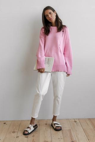 Джемпер со спущенными петлями, розовый
