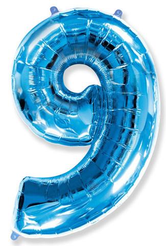 Шар (40''/102 см) Цифра, 9, Синий, 1 шт.