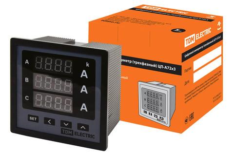 Цифровой амперметр ЦП-А72х3 0-50кА-0,5-Р (трехфазный) TDM