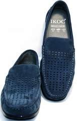 Мужские мокасины кожаные IKOC 1352-2 Blue.