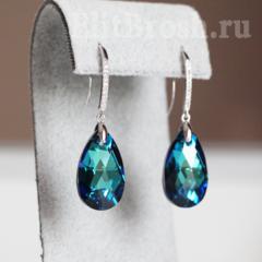 Серьги с синими кристаллами Сваровски