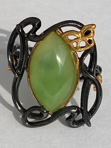 Рибера-нефрит (кольцо из серебра)