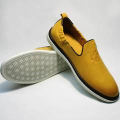 Кожаные туфли мужские слипоны King West 053-1022 Yellow-White.