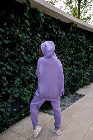Спортивный костюм из хлопка на флисе сиреневый оптом