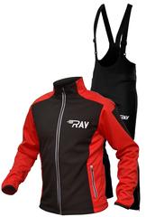Утеплённый лыжный костюм RAY RACE WS Black-Red мужской с лямками и высокой спиной