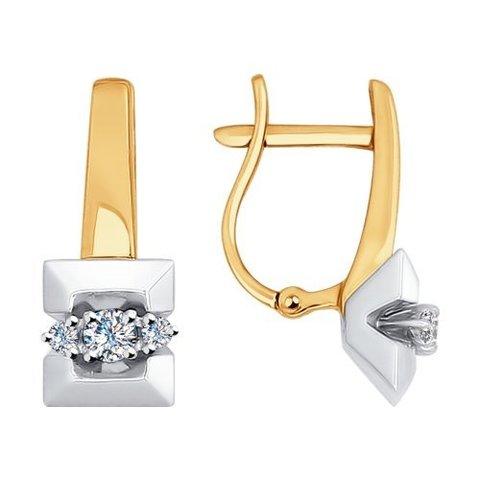 1020960 - Серьги из комбинированного золота с бриллиантами