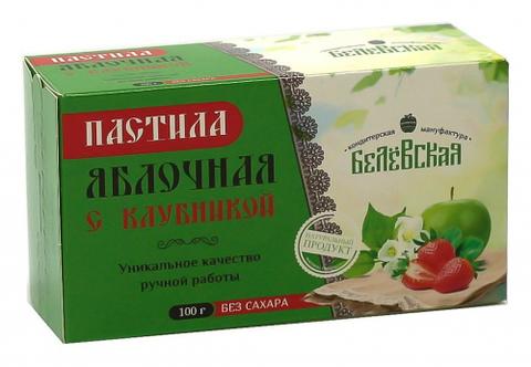 Пастила Белёвская яблочная с клубникой без сахара, 100 г