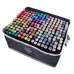 Mazari Fantasia набор маркеров для скетчинга 204 шт в сумке пенале - двусторонние спиртовые пуля/долото 3.0-6.2 мм (вкл. 2 блендера)
