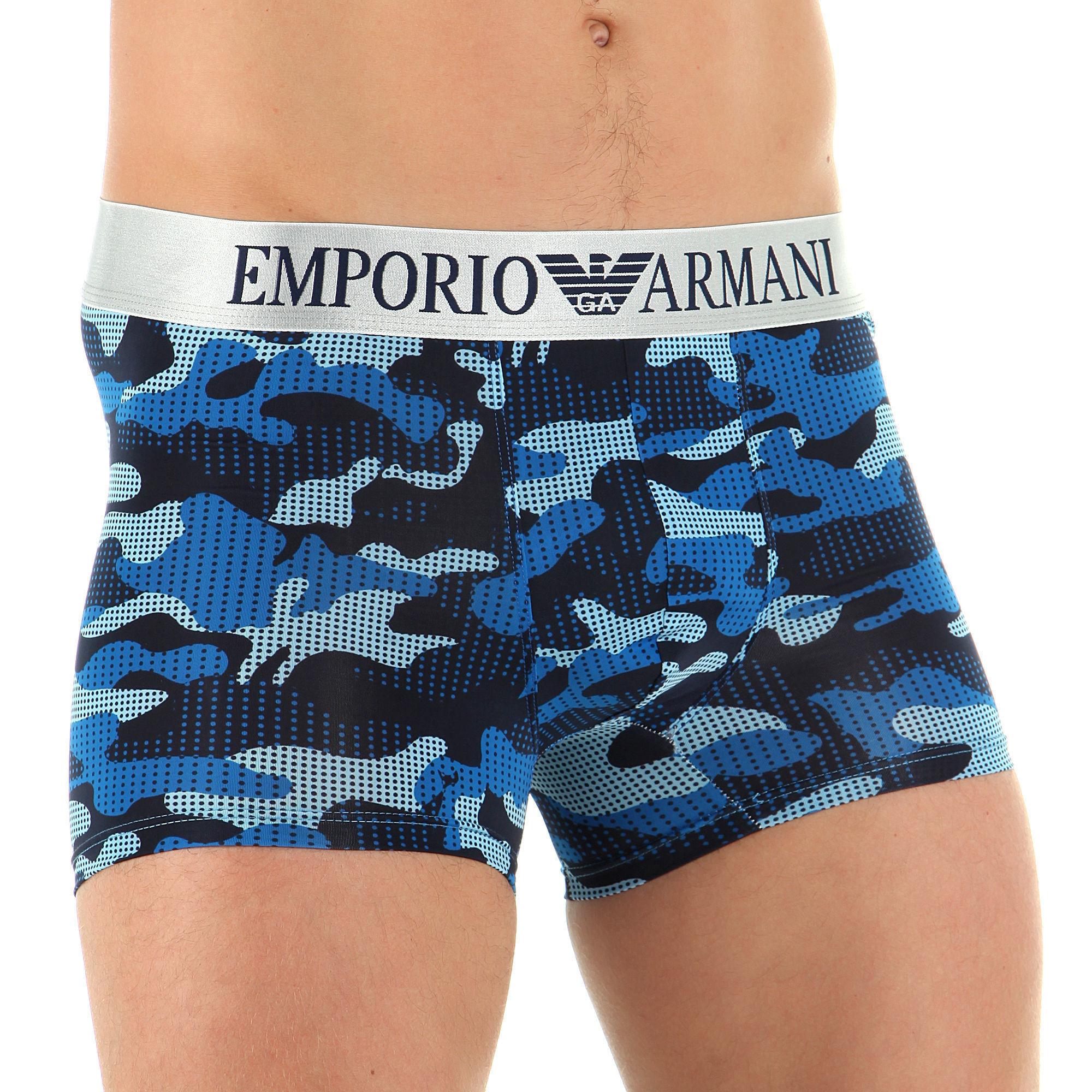 Мужские трусы боксеры синий камуфляж Emporio Armani Camo Navy