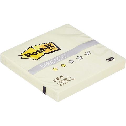 Стикеры Post-it Basic 76х76 мм пастельные желтые (1 блок, 100 листов)