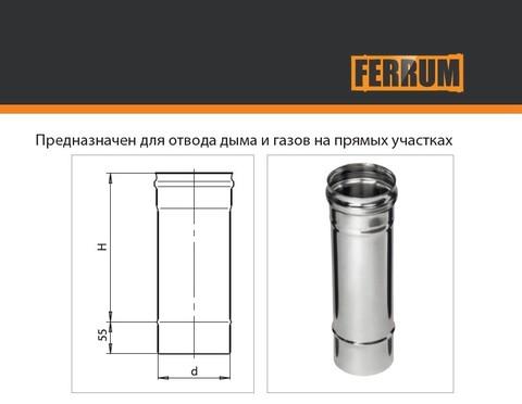 Дымоход одностенный Ferrum Plus Ø115 0,25 м 0,8 мм