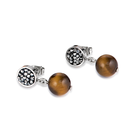 Серьги Coeur de Lion 4887/21-1523 цвет коричневый, серебряный, серый