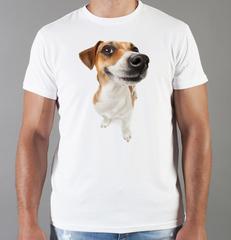 Футболка с принтом собаки (Собачки, Джек-рассел-терьер) белая 0020