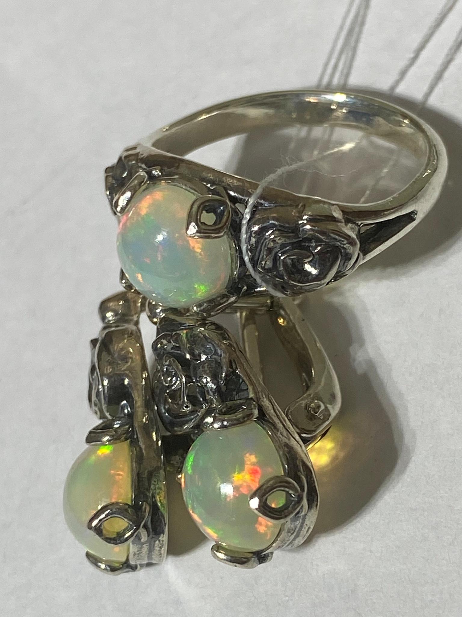 Альба-опал (кольцо + серьги из серебра)
