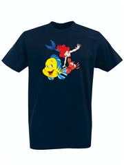 Футболка с принтом Ариэль (С русалочкой, мультфильм) темно-синяя 002