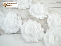 Шифоновые шебби-розы белые  диаметр 6 см