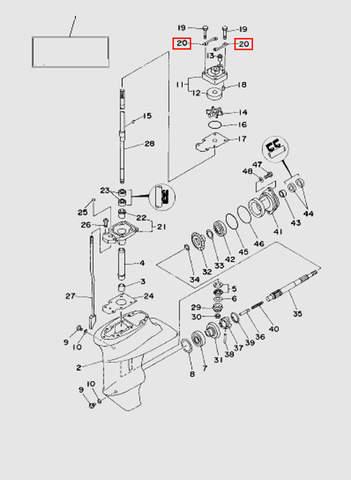 Прижимная пластина корпуса помпы  для лодочного мотора T15, OTH 9,9 SEA-PRO (16-20)
