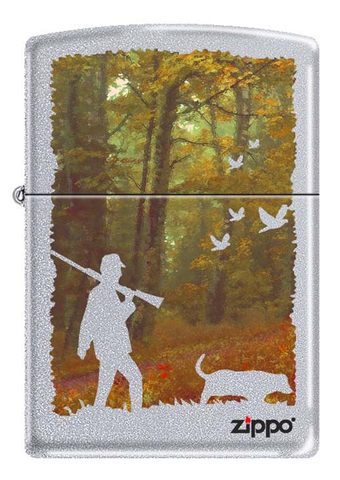 Зажигалка Zippo Осенняя охота, латунь/сталь с покрытием Satin Chrome, серебристая, 36x12x56 мм123