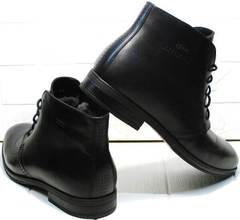 Модные зимние мужские ботинки на зиму Ikoc 3640-1 Black Leather.