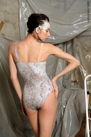 Strap leotard, stained in print | delicate_dirt
