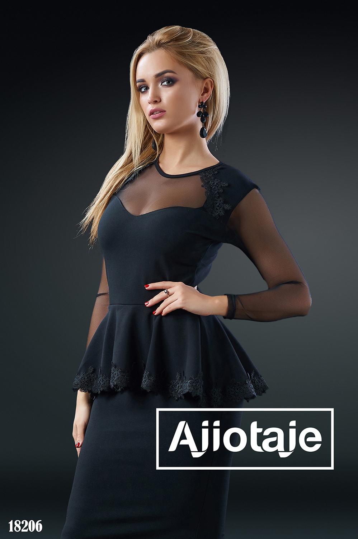 Элегантное платье в пол черного цвета