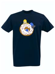Футболка с принтом мультфильма Симпсоны (The Simpsons) темно-синяя 010