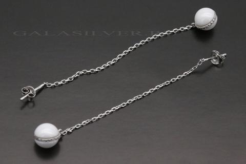Серьги с керамикой из серебра 925