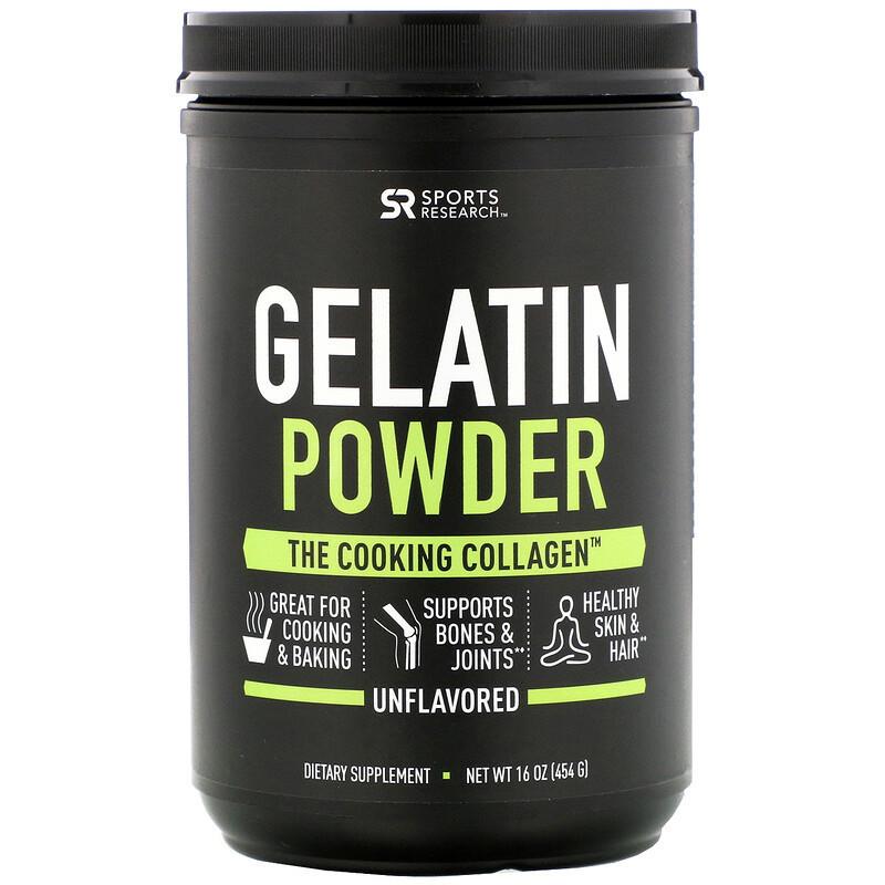 Коллаген Говяжий желатин,Gelatine Powder, Sports Research, 454 г