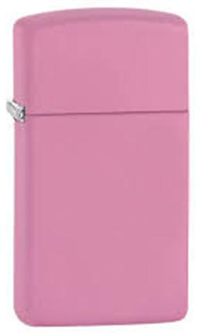 Зажигалка Zippo Slim, латунь с покрытием Pink Matte, розовая, матовая, 30х10x55 мм