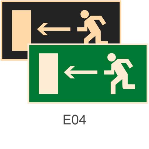 знаки фотолюминесцентные эвакуационные Е04 Направление к эвакуационному выходу налево