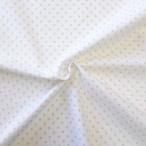 Ткань хлопковая бежевый горошек, отрез 50*80 см