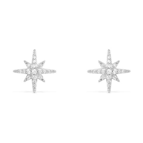 AE8419OX - Серьги-пусеты Meteorites из серебра с цирконами