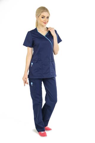 Топ медицинский женский темно-синий MC6066_NVYM