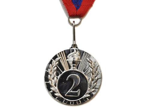 Медаль спортивная с лентой за 2 место. Диаметр 5 см: 1702-2