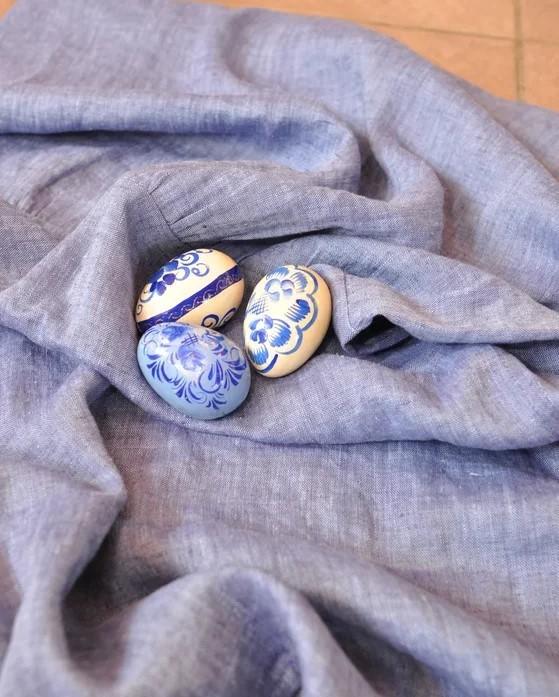 Платье бохо сине-голубой меланж