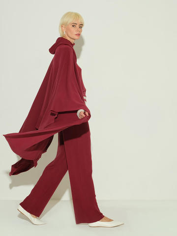 Женские брюки бордового цвета из 100% шерсти - фото 4