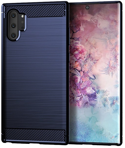 Чехол Samsung Galaxy Note 10+ цвет Blue (синий), серия Carbon, Caseport