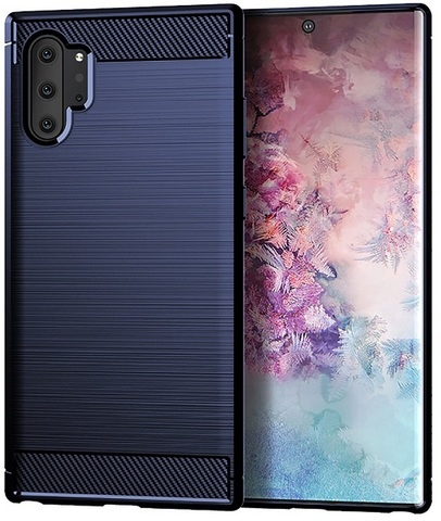 Чехол для Samsung Galaxy Note 10+ цвет Blue (синий), серия Carbon от Caseport