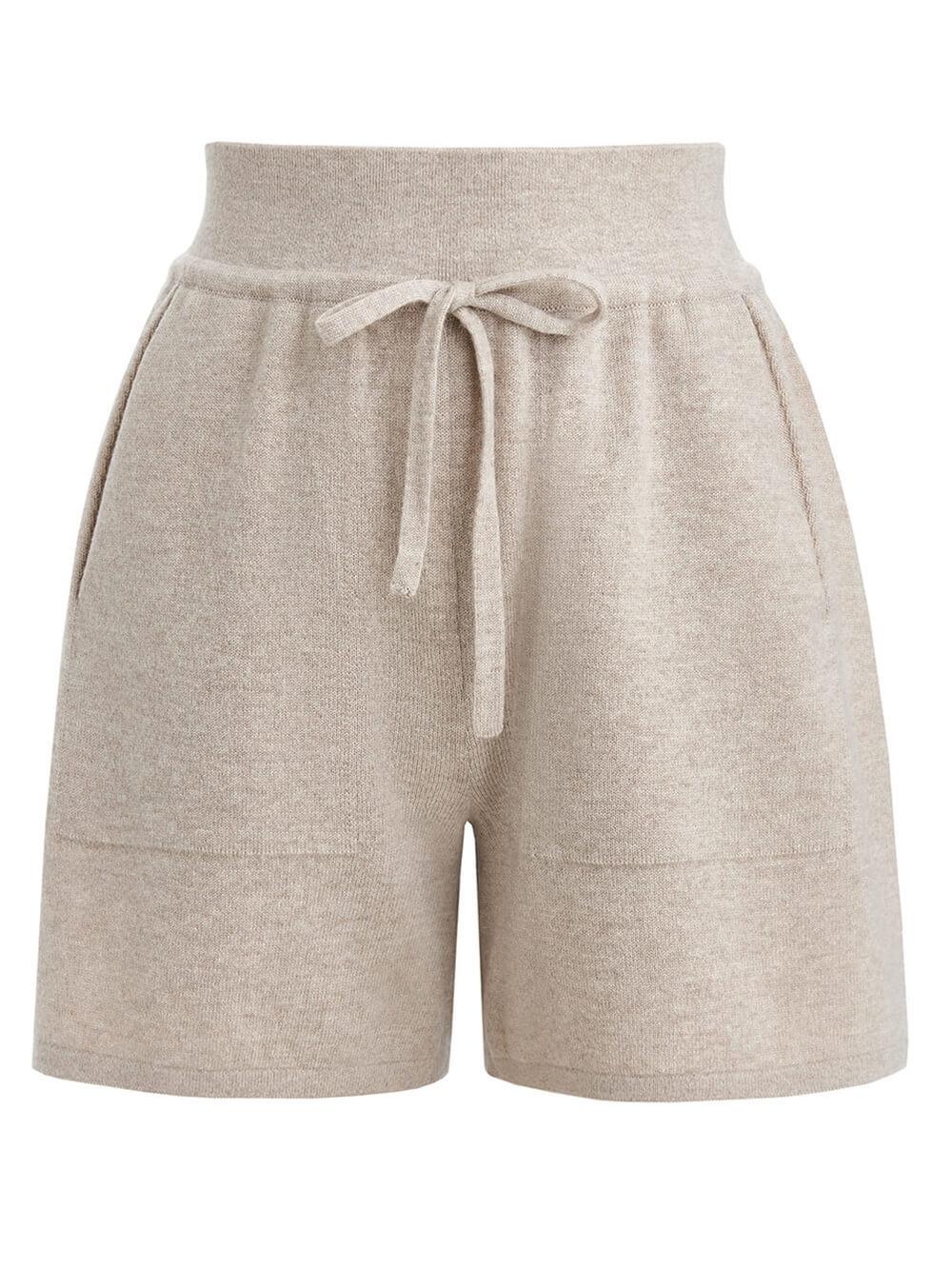 Женские шорты бежевого цвета из шерсти и кашемира - фото 1