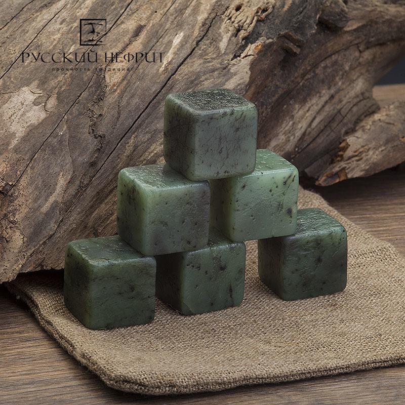 Камни для виски Камни для охлаждения виски из нефрита. Набор от 3 шт. в холщовом мешочке. Кубики_2.jpg