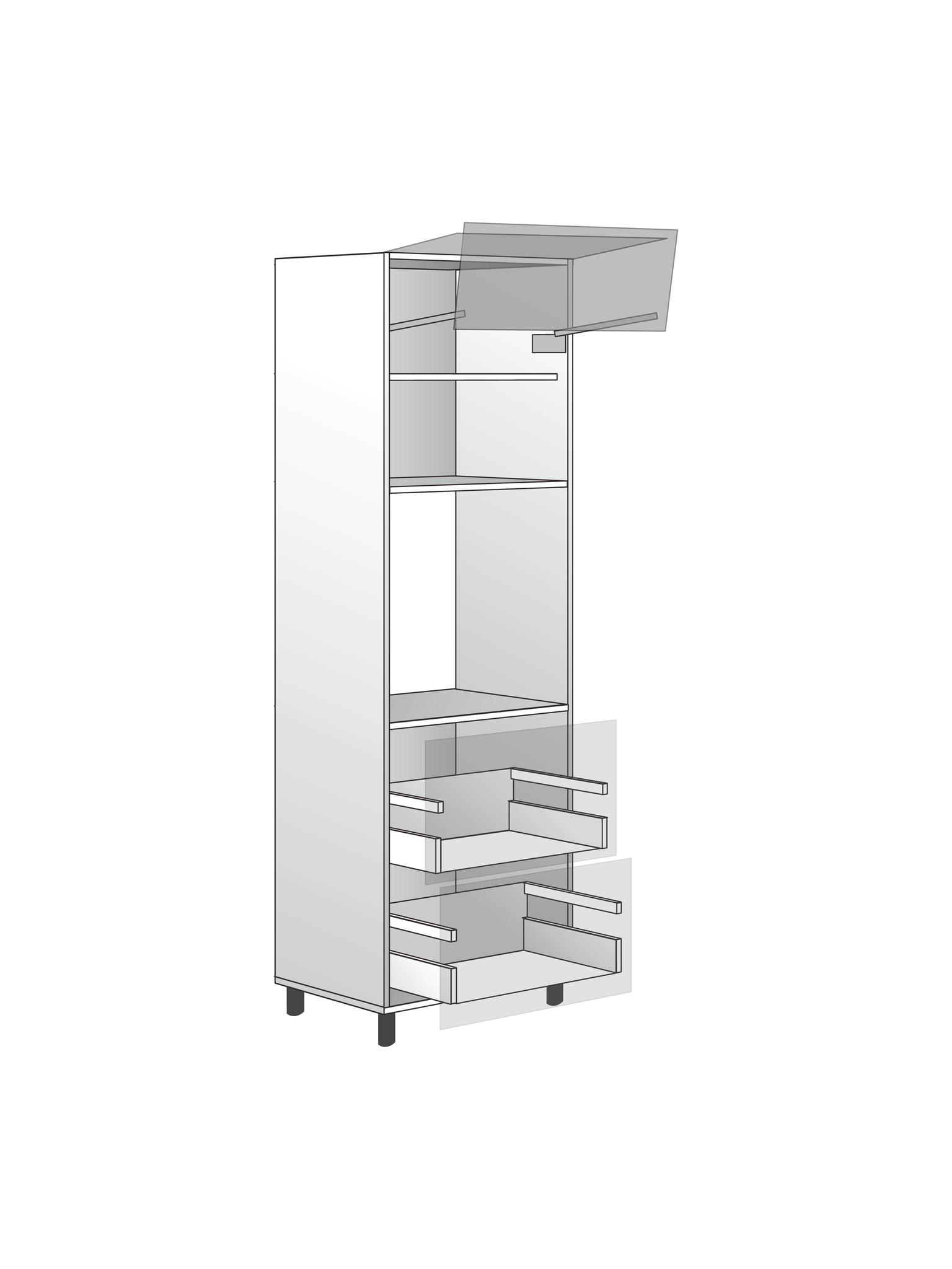"""Напольный шкаф для духовки c подъемным механизмом и 2 ящиками """"BOX"""", 1920Х600 мм"""