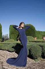 Длинное платье с бантом в вишневом цвете от дизайнера Tarik Ediz 92563