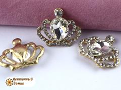Стразовая корона с большим прозрачным камнем №1