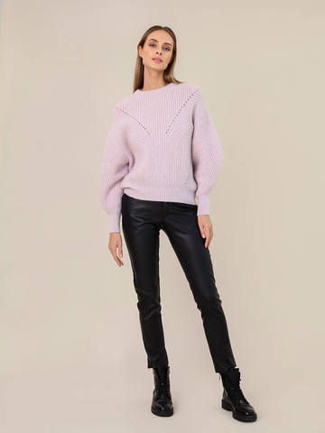 Женский джемпер светло-розового цвета из мохера - фото 5