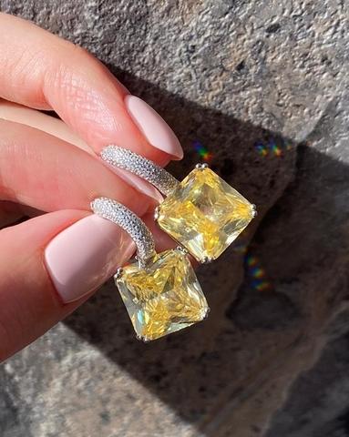 4921 - Серьги из серебра с квадратными, желтыми цирконами огранки принцесса
